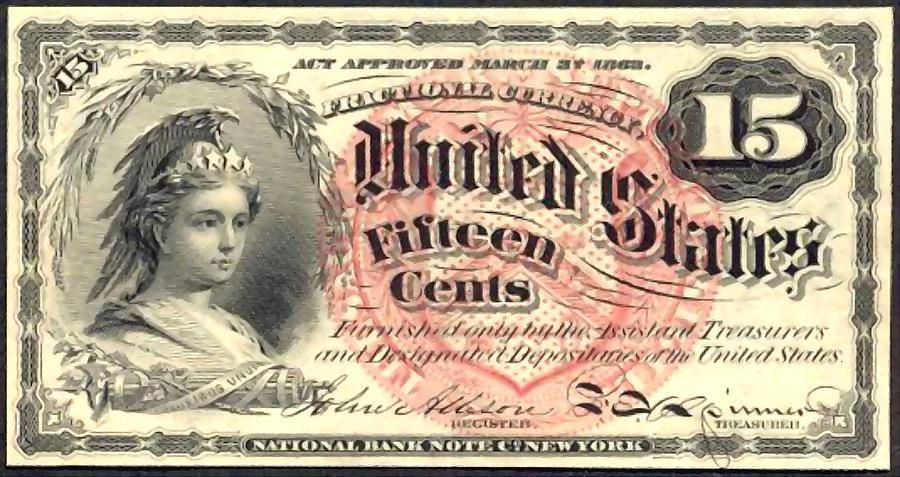 Fifteen Cents 4th Issue U.s. Fractional Currency Painting