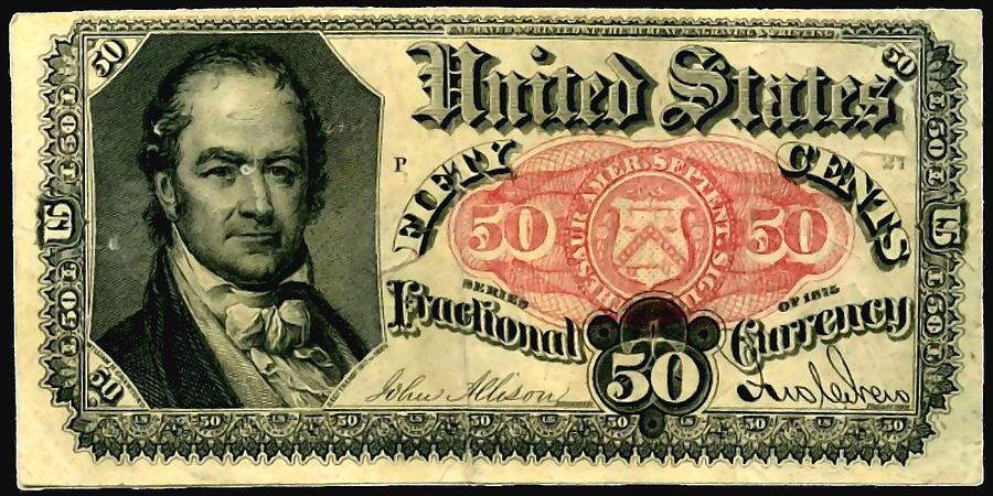 Fifty Cents 5th Issue U.s. Fractional Currency Fr 1381 Photograph  - Fifty Cents 5th Issue U.s. Fractional Currency Fr 1381 Fine Art Print