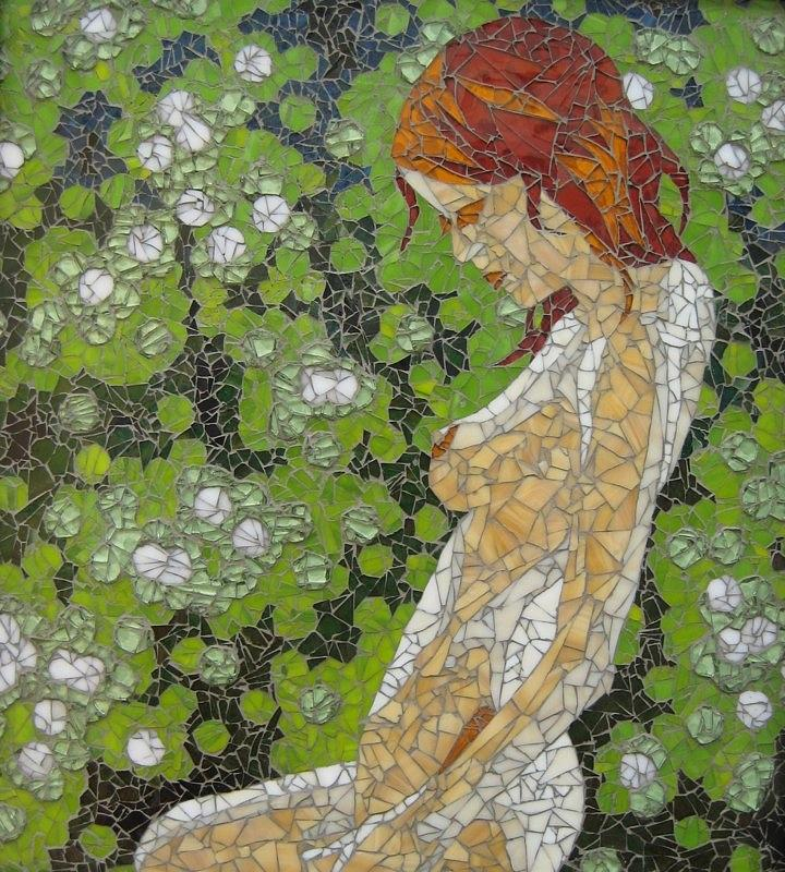 Figure In Front Of Green Spots Mixed Media