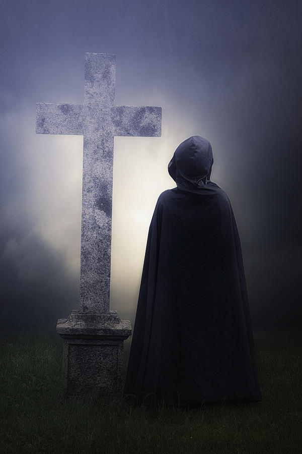 Figure On Graveyard Photograph  - Figure On Graveyard Fine Art Print