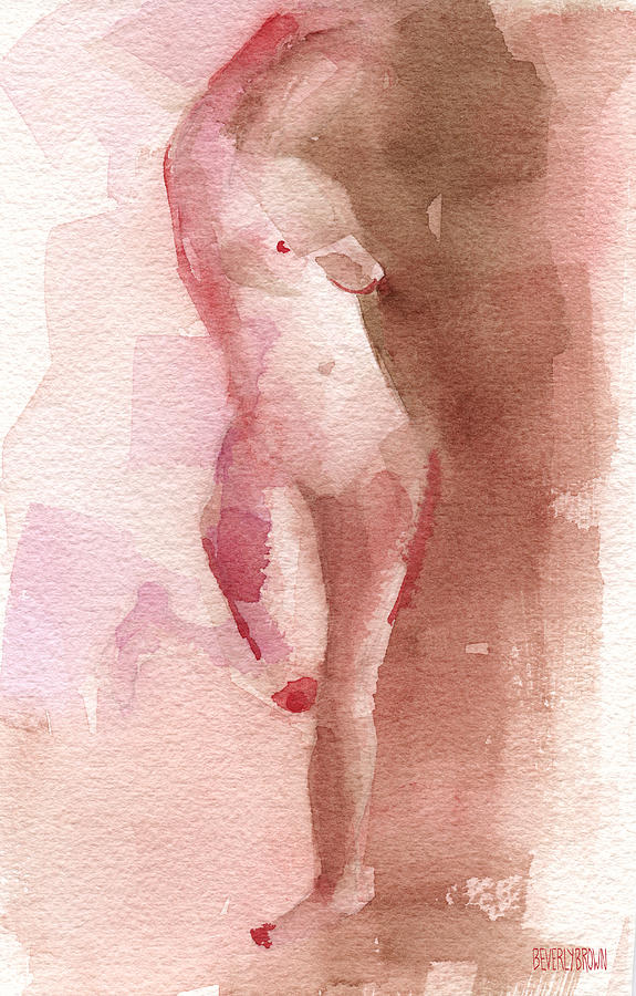 Figure Red Brown Magenta Watercolor Painting Painting  - Figure Red Brown Magenta Watercolor Painting Fine Art Print