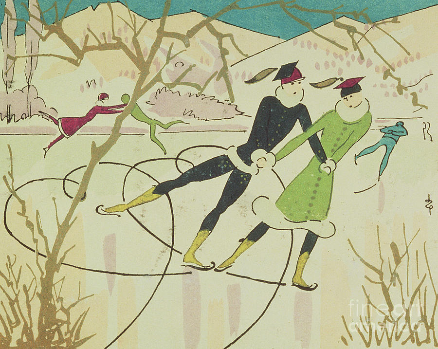 Figure Skating  Christmas Card Drawing