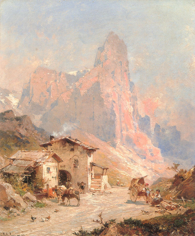 Figures In A Village In The Dolomites Digital Art  - Figures In A Village In The Dolomites Fine Art Print