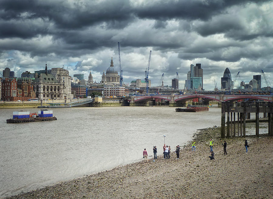 Film Crew On The Thames - London Back-drop Photograph  - Film Crew On The Thames - London Back-drop Fine Art Print