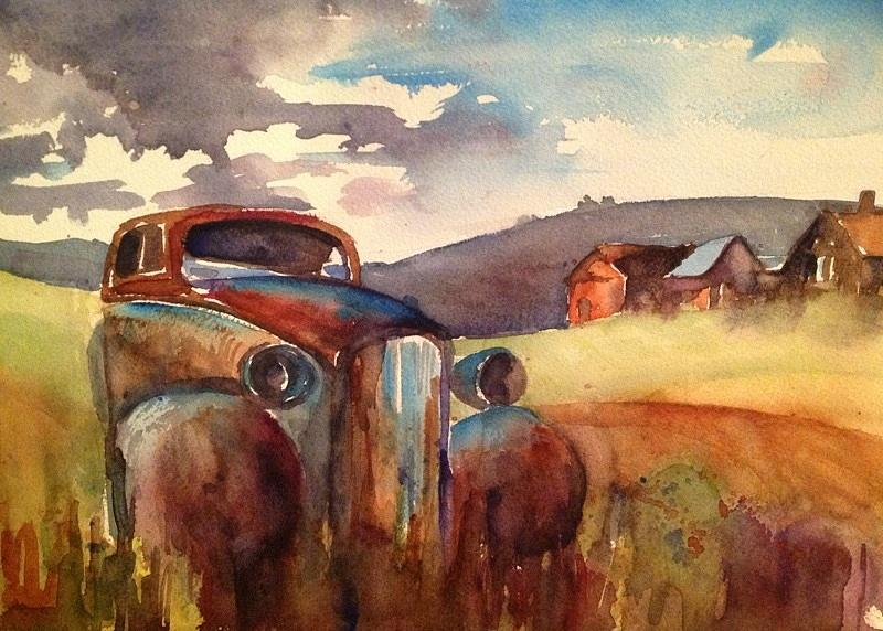 Old Rusty Car In  Countryside Landscape - The Final Resting Place Painting - Final Rest - Sold by Vera Kovacovic