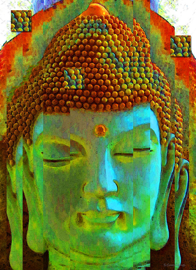 Finding Buddha - Meditation Art By Sharon Cummings Painting  - Finding Buddha - Meditation Art By Sharon Cummings Fine Art Print
