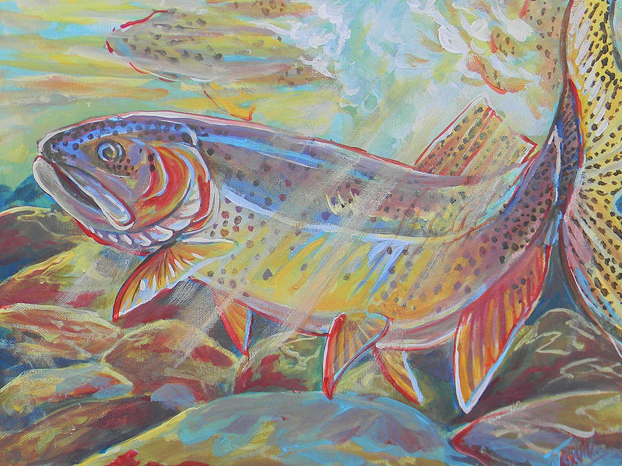 Fish Painting - Fine Spotted Cutthroat Trout by Jenn Cunningham