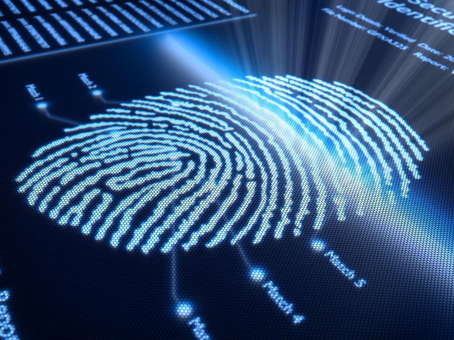 Fingerprint On Pixellated Screen Photograph