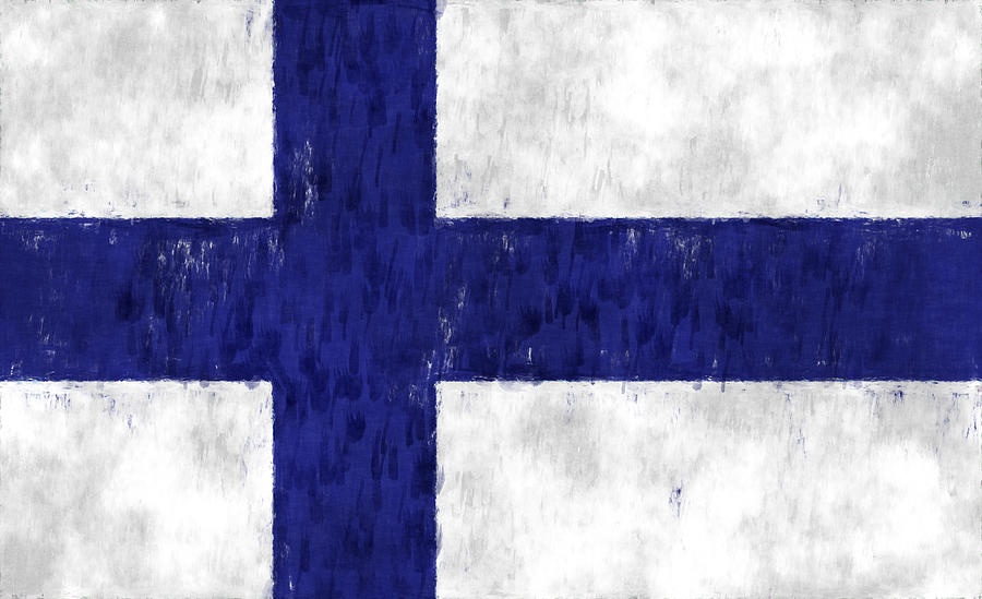 Finland Flag Digital Art  - Finland Flag Fine Art Print