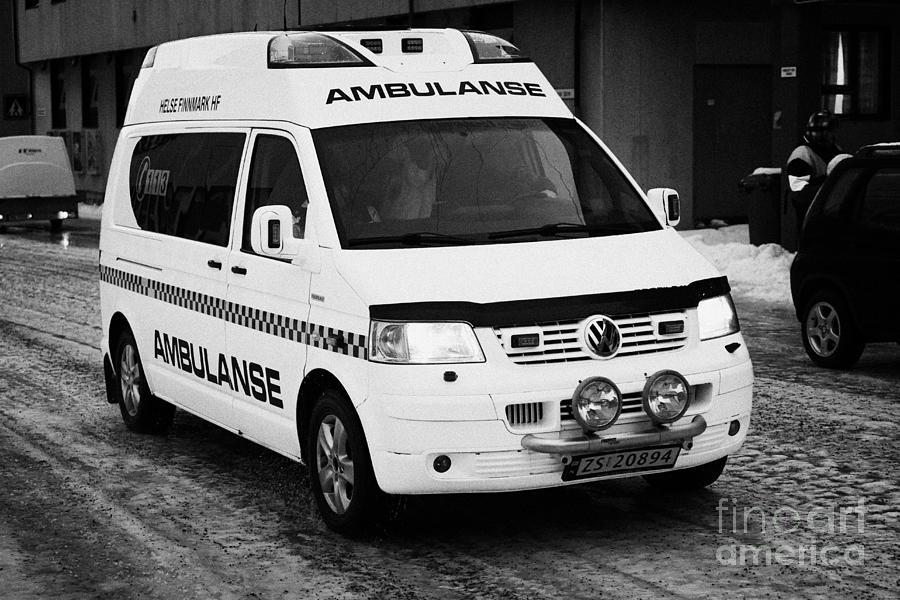 Helse Photograph - Finnmark Health Service Ambulance Honningsvag Norway Europe by Joe Fox