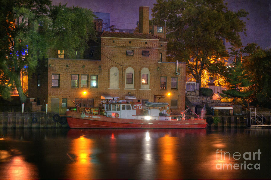 Fire Boat On Cuyahoga River Photograph  - Fire Boat On Cuyahoga River Fine Art Print