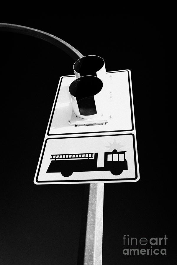 fire engine stop sign and signal Saskatoon Saskatchewan Canada Photograph