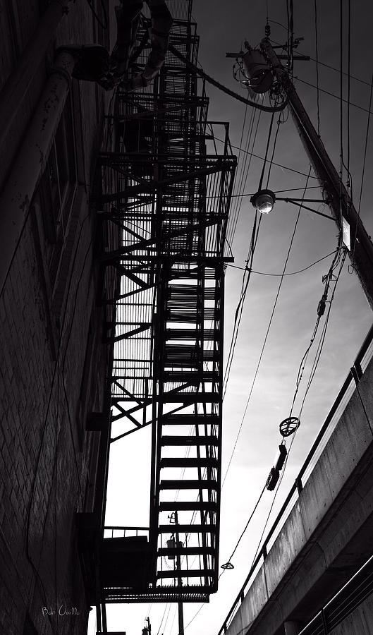 Fire Escape And Wires Photograph