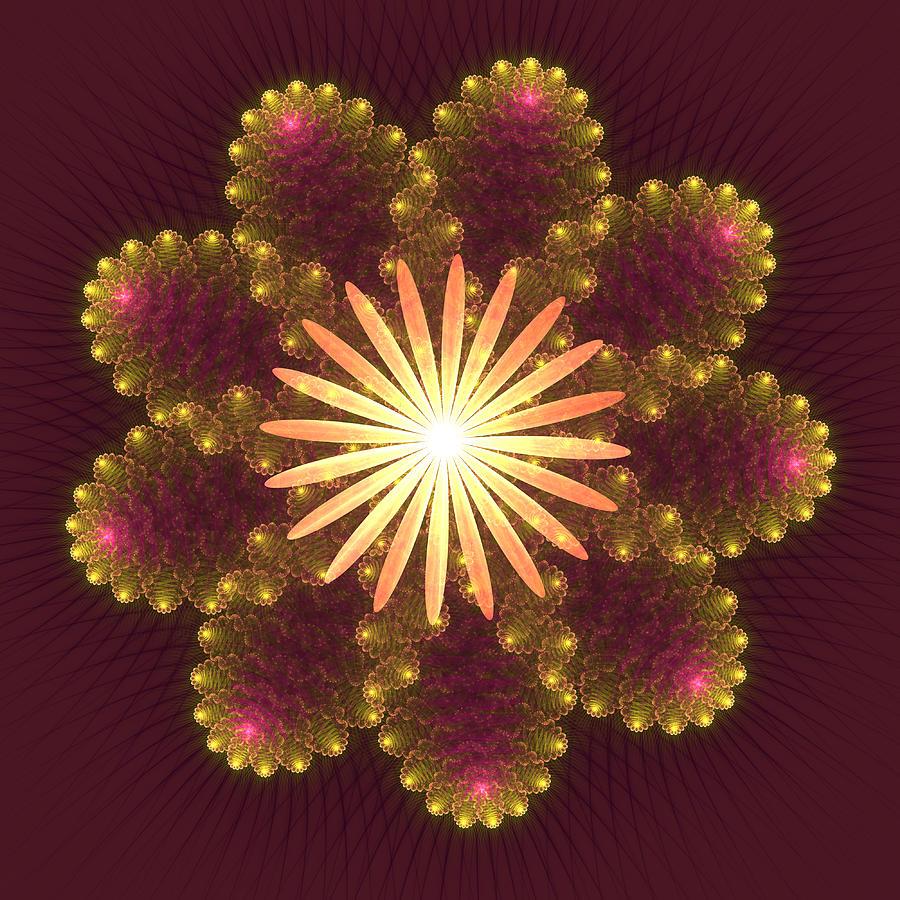 Kaleidoscope Digital Art - Fire Flower Mandala by Svetlana Nikolova