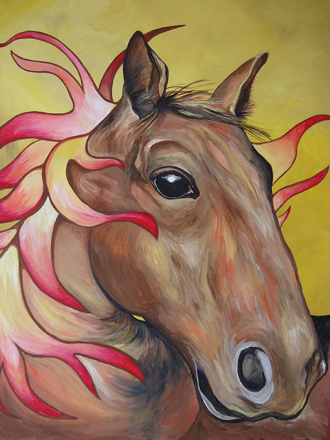 Horse Painting - Fire Horse by Leslie Manley