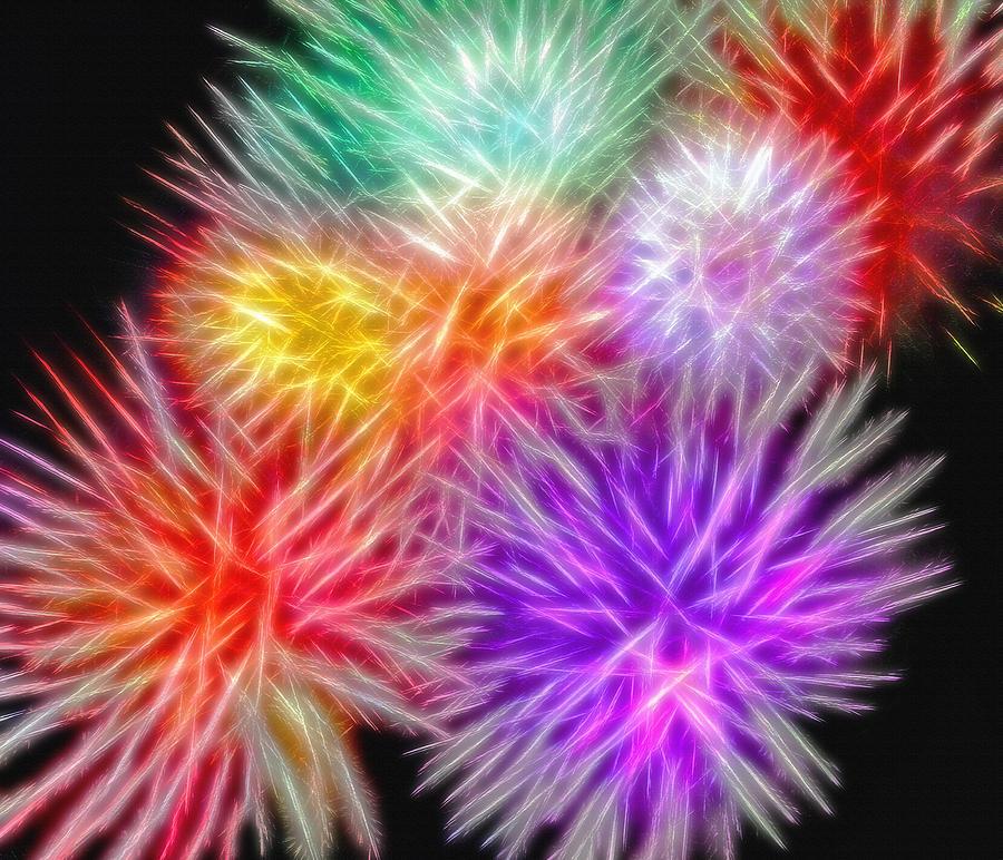 Fireworks Photograph - Fire Mums - Fireworks Collage 2 by Steve Ohlsen