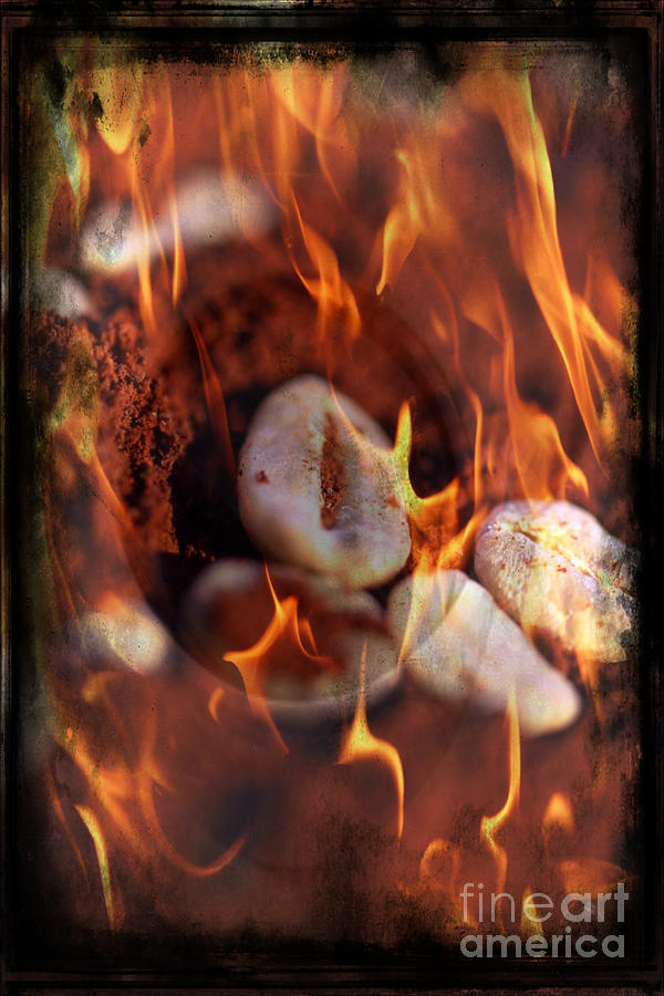 Fire Roasted Coffee Beans Mixed Media  - Fire Roasted Coffee Beans Fine Art Print