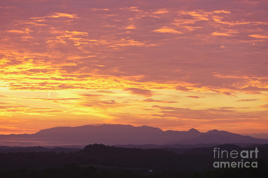 Fire Sunset Over Smoky Mountains Photograph