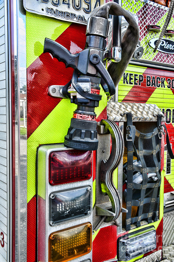 Fireman Photograph - Fire Truck - Keep Back 300 Feet by Paul Ward