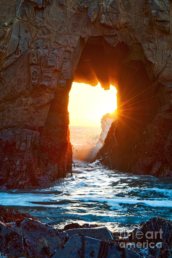 Fireburst - Arch Rock In Pfeiffer Beach In Big Sur. Photograph