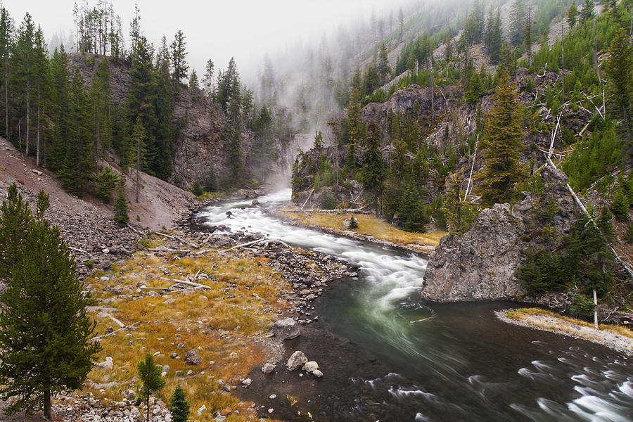 Firehole Canyon River Yellowstone National Park Wyoming Fog Landscape Photograph - Firehole Canyon - Yellowstone by Brian Harig