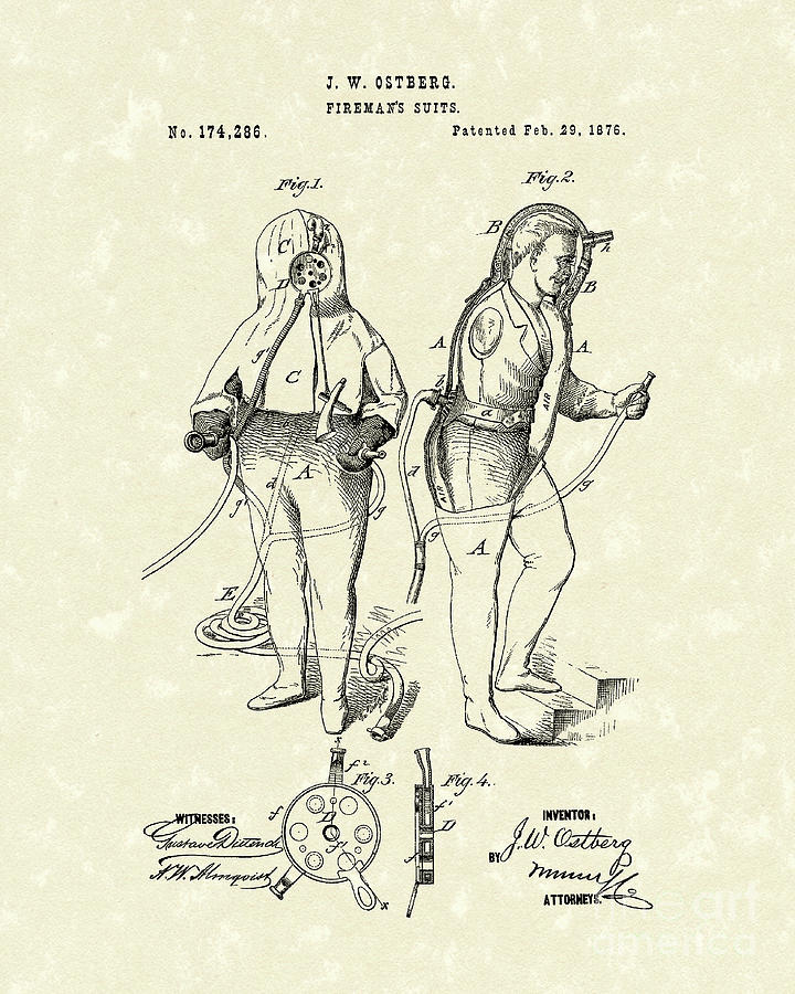 Firemans Suits 1876 Patent Art Drawing  - Firemans Suits 1876 Patent Art Fine Art Print