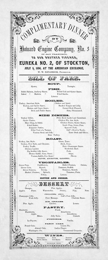 Firemen Dinner Menu - San Francisco - 1856 Photograph  - Firemen Dinner Menu - San Francisco - 1856 Fine Art Print
