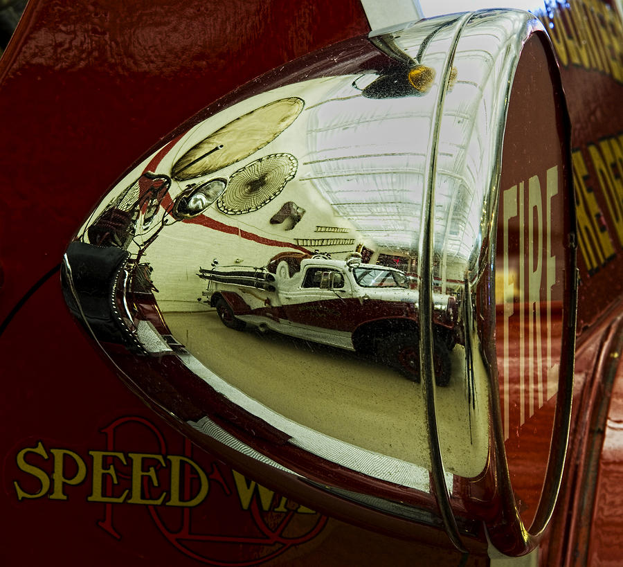 Firetruck Reflection Photograph  - Firetruck Reflection Fine Art Print