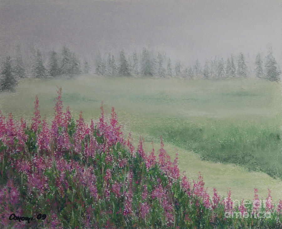 Fireweeds Still In The Mist Painting  - Fireweeds Still In The Mist Fine Art Print