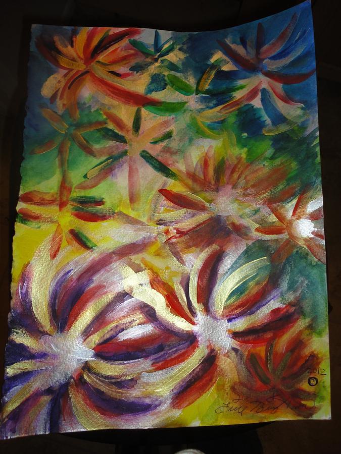 Firework;rainbow ;flowers 'trippy ;beauty Etc Painting - Firework Flower by Eric Birmingham