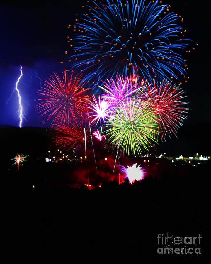 Fireworks And Lightning Photograph