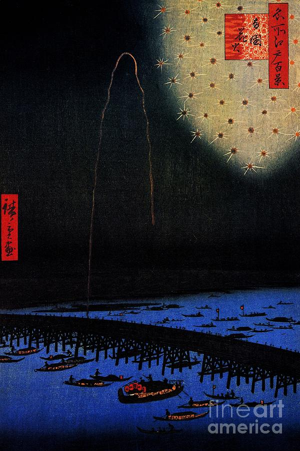 Pd Painting - Fireworks At Ryogoku by Pg Reproductions