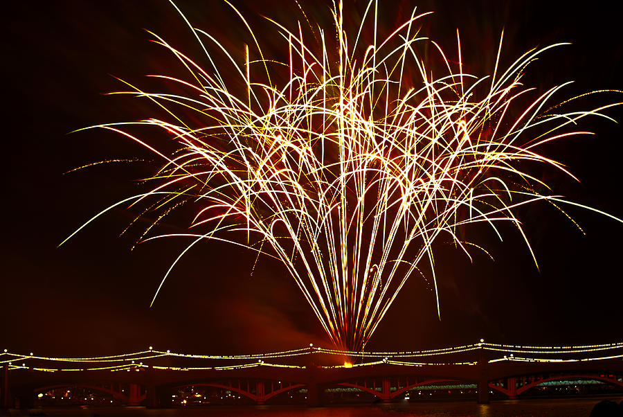 Fireworks At Tempe Town Lake  Photograph  - Fireworks At Tempe Town Lake  Fine Art Print