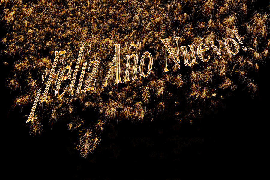 Fireworks Feliz Ano Nuevo In Elegant Gold And Black Photograph
