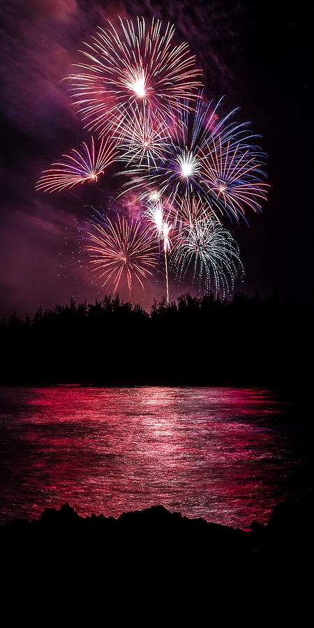 Fireworks In The Country - Pink Photograph