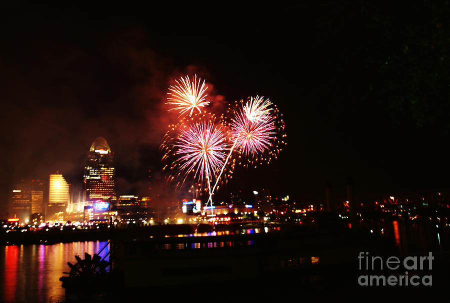 Fireworks Over Cincinnati Photograph  - Fireworks Over Cincinnati Fine Art Print