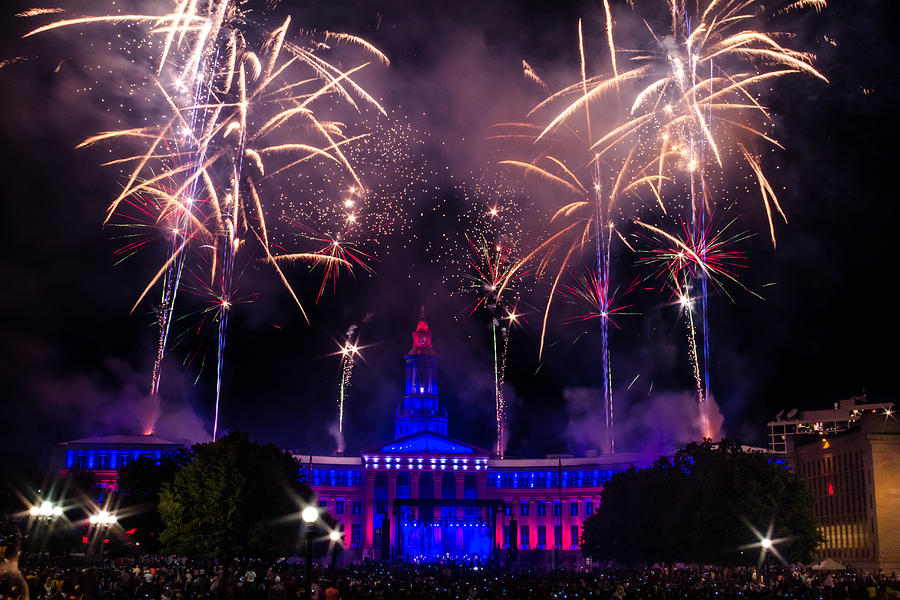 Fireworks Over Denver City And County Building Photograph