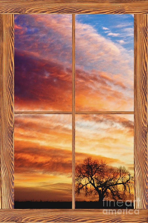 First Dawn Barn Wood Picture Window Frame View Photograph