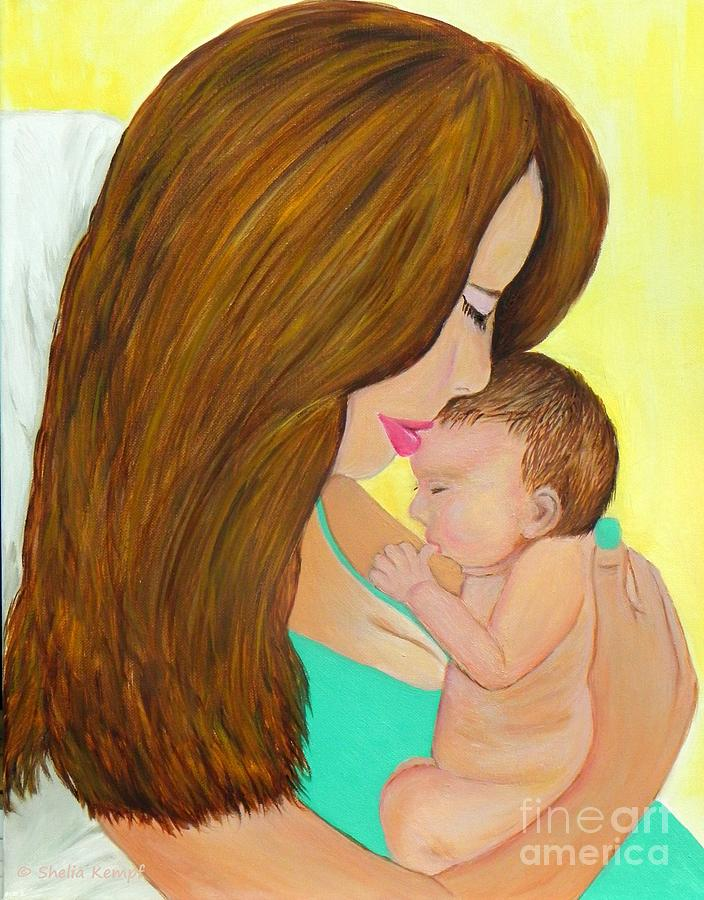 First Kiss- Mother And Newborn Baby Painting