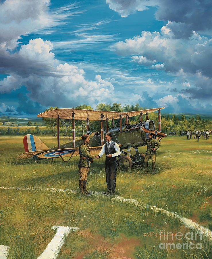 Aviation Art Painting - First Landing At Shepherds Field by Randy Green