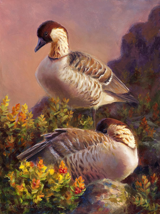 First Light Nene Hawaiian Goose Painting