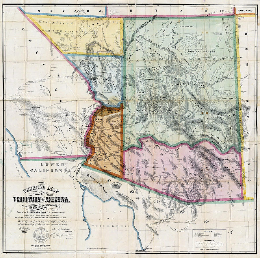 First Map Of Arizona Territory  1865 Photograph