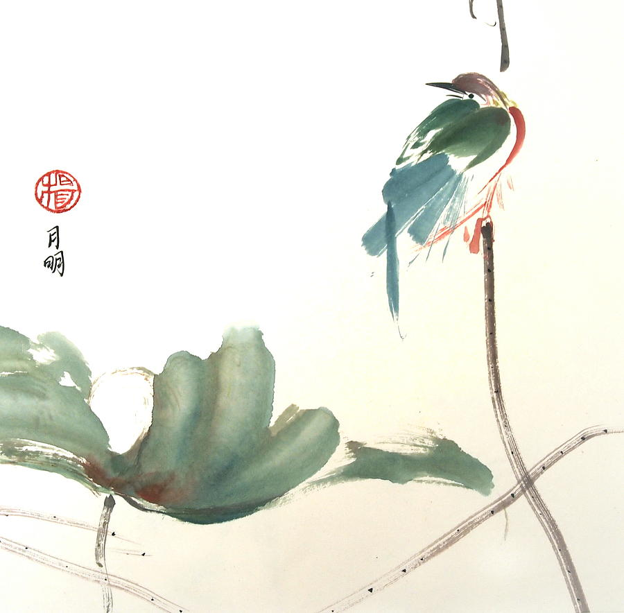 Lily Pond Painting - First To Arrive by Ming Yeung