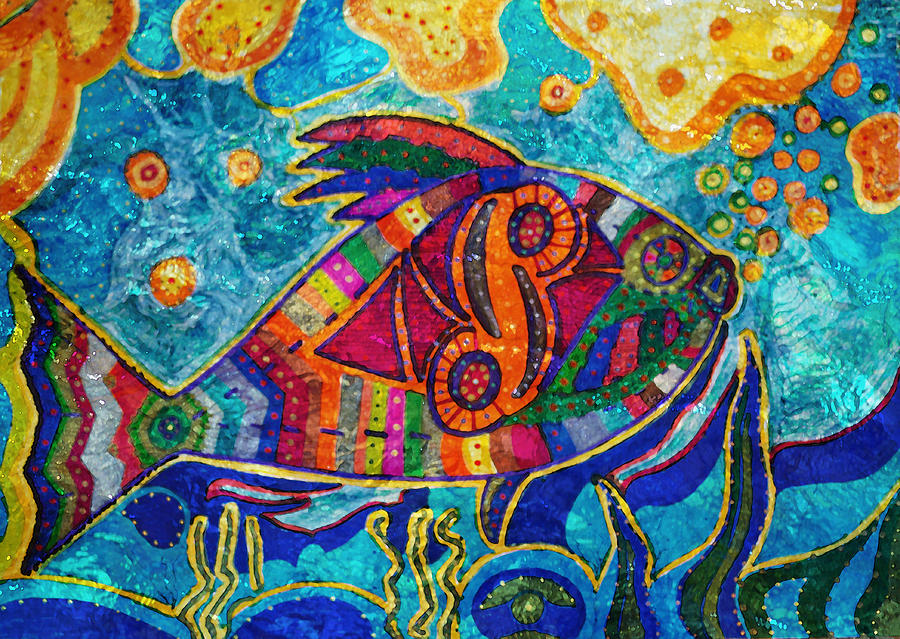 Fish - Abstract Fish is a painting by Marie Jamieson which was ...