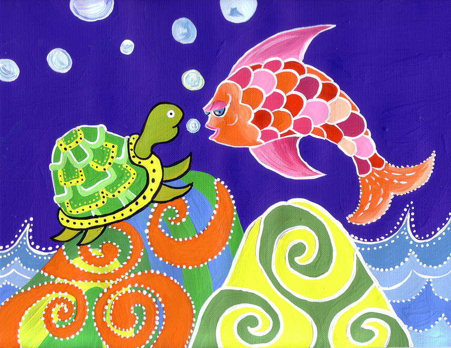 Fish and turtle by lynnda rakos for Turtle fish paint