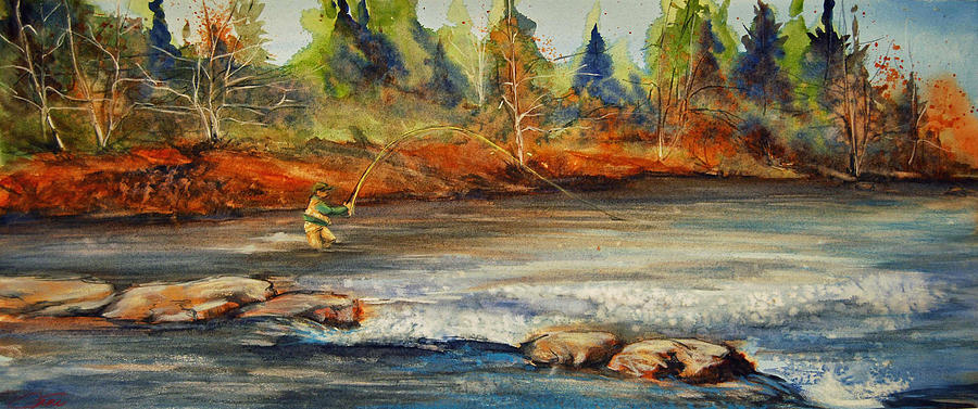 Fisherman Painting - Fish On by Jani Freimann