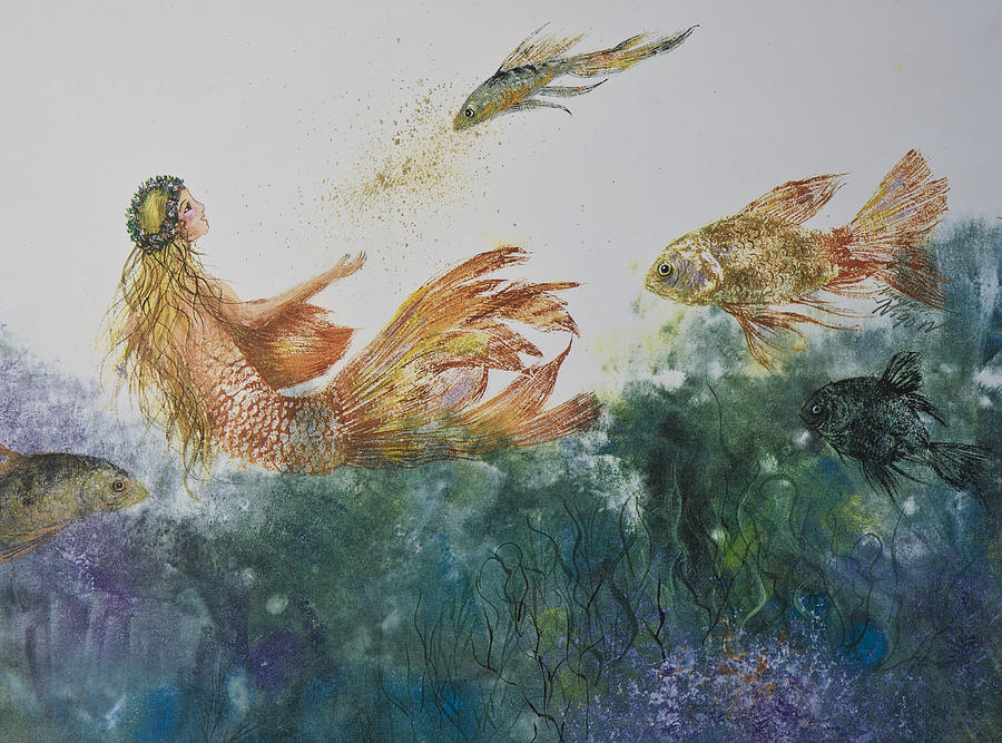 Fishbowl Mermaid Mixed Media