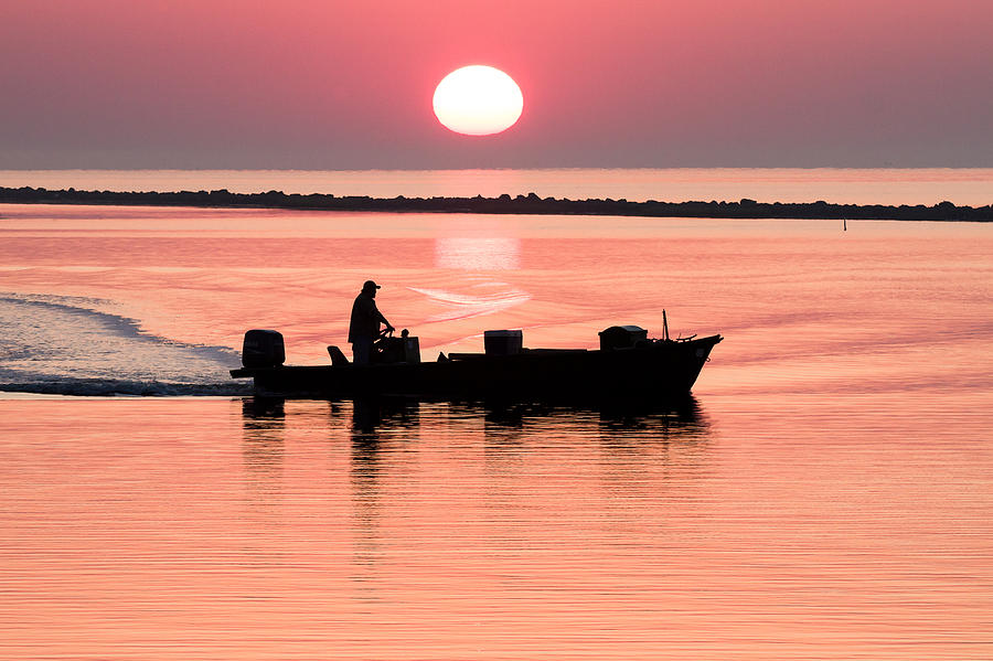 Fisherman At Sunrise Apalachicola Bay Florida  Photograph