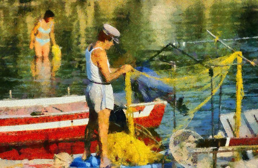 Fisherman In Kea Island Painting