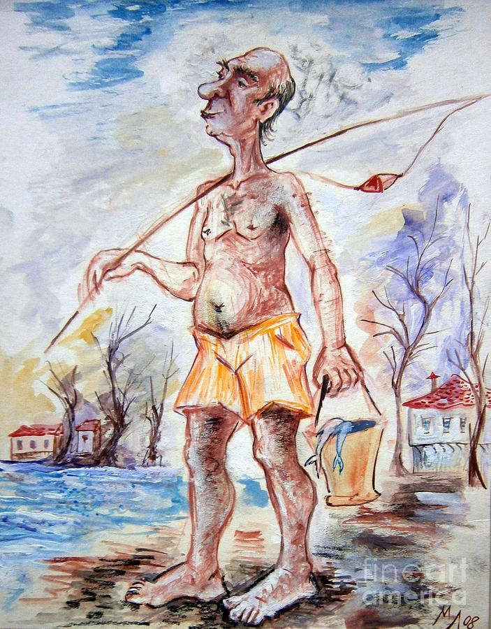 Fisherman Drawing - Fisherman by Milen Litchkov